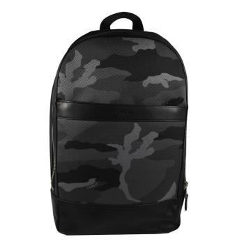 COACH 11252 經典LOGO迷彩皮革織布拼接後背包.黑