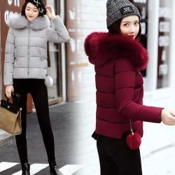 【A3】暖心顯瘦羽絨棉短版外套(酒紅色、軍綠色、黑色、銀灰色、粉色)