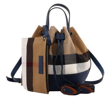 BURBERRY Canvas格紋棉麻手提/肩背二用水桶包 小型(海軍藍) 4053323