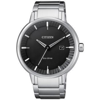 CITIZEN 星辰光動能 俐落簡潔設計腕錶(銀X黑/41.5mm) BM7370-89E
