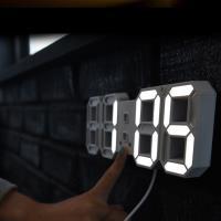 新一代 3D LED立體數字鐘 溫度/日期 電子鬧鐘 牆面立體掛鐘 USB供電(小款)