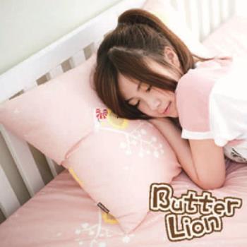 【奶油獅】MIT正版授權100%精梳純棉珍珠球棉枕(中)-粉紅