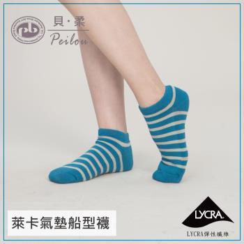任-【PEILOU】貝柔機能萊卡運動防震護足襪繽紛條紋 多色任選