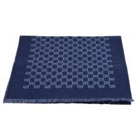 GUCCI 經典GG緹花線條羊毛雙色流蘇披巾/圍巾(海軍藍X藍-33X175cm)