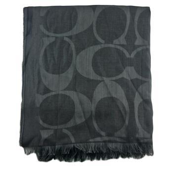 COACH 經典大logo黑色桑蠶絲羊毛披肩圍巾