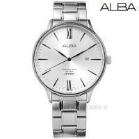 ALBA / VJ42-X238S.AS9E95X1 / 極簡羅馬藍寶石水晶玻璃日期防水不鏽鋼手錶 銀色 43mm