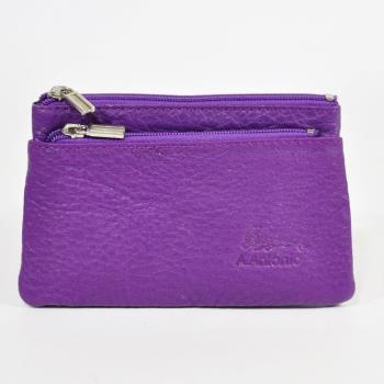 Miyo進口牛皮分層零錢包-紫