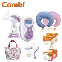 日本Combi 手電動2合1吸乳器+和風紗多功能哺乳靠墊(兩色可選)+防溢乳墊組+春漾手提袋