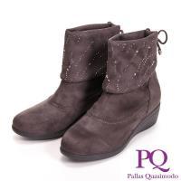 PQ 絨毛 亮鑽反折低筒女靴~咖  黑