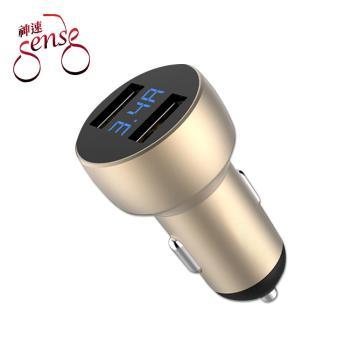 Sense神速 雙USB電壓/電流顯示車用充電器(3.4A/金)