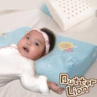 【奶油獅】馬來西亞進口純天然乳膠嬰兒仰睡側睡專用工學枕(附100%純棉布)-粉藍