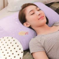 【奶油獅】馬來西亞進口純天然蝶型乳膠枕-附精梳純棉布(兒童、女性適用)幻紫