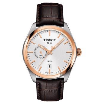 TISSOT天梭 PR100 GMT 二地時區手錶-玫瑰金圈x咖啡 39mm T1014522603100