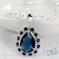 伊飾童話 藍眼淚 藍水晶珍珠串長鍊