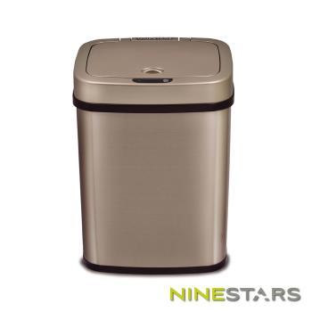 NINESTARS感應式掀蓋垃圾桶12公升 DZT-12-5 / 香檳金