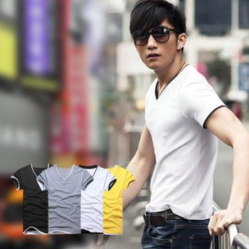 【ENNE】百搭純色假兩件短袖修身男士V領全棉T恤/2色任選