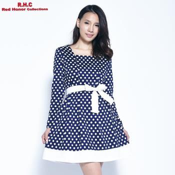 【R.H.C】復古拼接綁帶洋裝