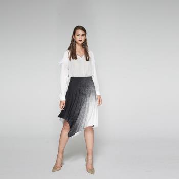 ICHE衣哲 漸層黑白印花造型膝下圓裙