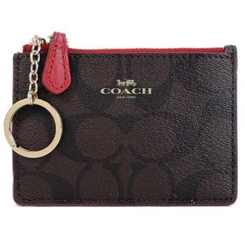 COACH LOGO防刮皮革鑰匙零錢包(咖啡紅)