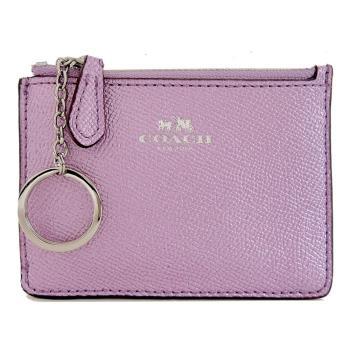 COACH 馬車珠光防刮皮革後卡夾鑰匙零錢包(珠光粉紫)