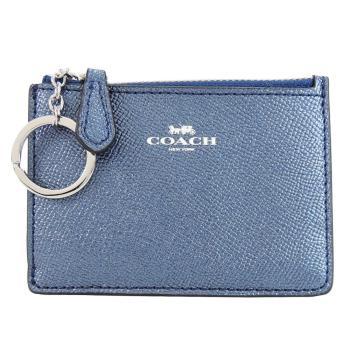 COACH 馬車珠光防刮皮革後卡夾鑰匙零錢包(珠光藍)