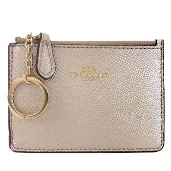 COACH 馬車珠光防刮皮革後卡夾鑰匙零錢包(香檳金)
