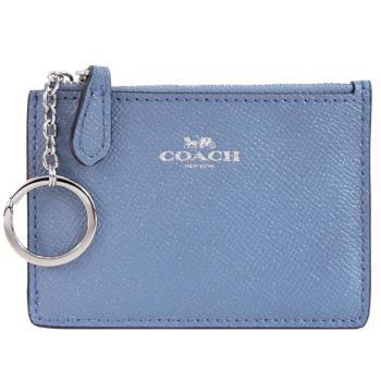 COACH 馬車防刮皮革卡夾鑰匙零錢包(灰藍)