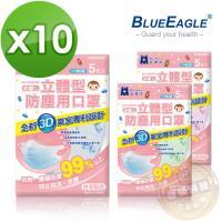 【藍鷹牌】台灣製 2-6歲幼童立體防塵口罩 5片*10包 (藍/綠/粉熊可挑色)