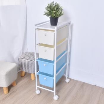 凱堡 四層窄版藍白抽屜車 塑膠抽屜櫃