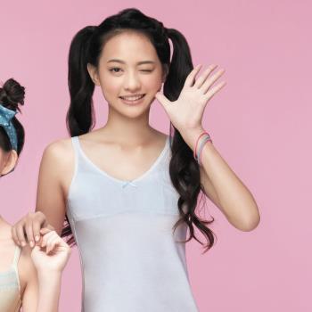 【嬪婷】學生系列晶球牛奶 M-3L 細帶長版背心(清新灰,學生成長第一階