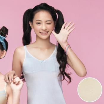 【嬪婷】學生系列晶球牛奶 M-3L 細帶長版背心(柔和黃)保濕抗菌消臭-學生成長第一階段-專利設計