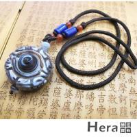 ~Hera~天然波斯瓦納精雕文殊菩薩咒氶及財咒天眼項鍊 獨一無二