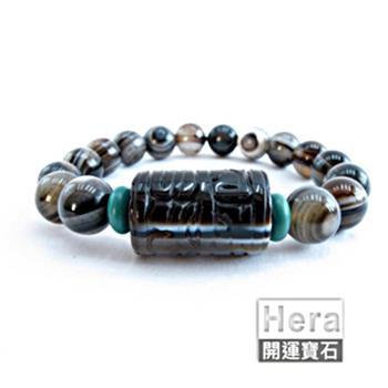 【Hera】天然波斯瓦納精雕轉經輪天眼手鍊(獨一無二)