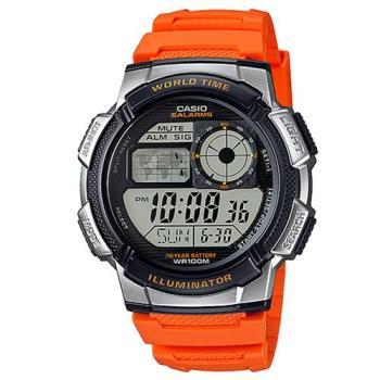 【CASIO】 世界之城科技數位膠帶錶-橘 (AE-1000W-4B)