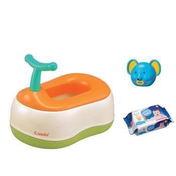 日本Combi 戒尿布三階段訓練便器組(洗澡玩具+海洋深層80抽1包)