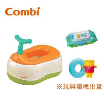 日本Combi 戒尿布三階段訓練便器組(小熊洗澡玩具+超純水濕巾80抽1包)