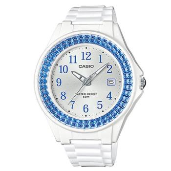 【CASIO】漾鑽女王簡潔時尚風指針日曆腕錶白X藍框 (LX-500H-2B)