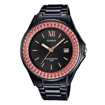 【CASIO】漾鑽女王簡潔時尚風指針日曆腕錶-黑X橘紅框 (LX-500H-1E)