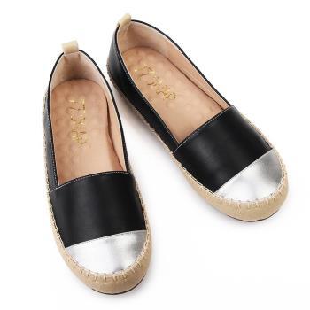 TTSNAP平底鞋-MIT異材質拼接真皮休閒樂福鞋 黑