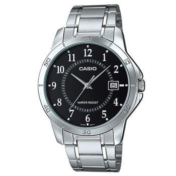 【CASIO】 經典復古時尚簡約指針紳士日曆腕錶-數字黑面 (MTP-V004D-1B)