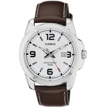 【CASIO】拼貼風 潮流男錶-白面X咖啡錶帶 (MTP-1314L-7A)