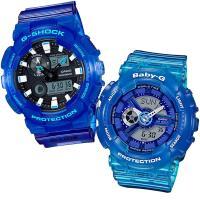 【CASIO】G-SHOCK+BABY-G 透色漸層休閒對錶-潮汐 (GAX-100MSA-2A+BA-110JM-2A)