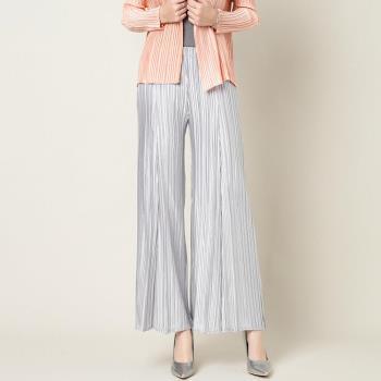 糖潮 百搭氣質銀白色壓摺寬鬆休閒褲