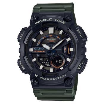 【CASIO】 世界城市玩家雙顯運動錶-軍綠 (AEQ-110W-3A)