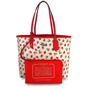COACH 防刮皮革正反兩用草莓大容量托特包-白色