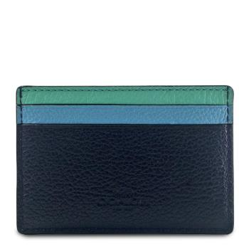 任-COACH藍綠撞色荔枝紋全皮雙面名片-票卡夾