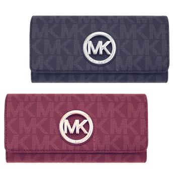 Michael Kors 圓牌滿版MK防刮皮革翻蓋長夾(MK經典防刮皮革翻蓋長夾)