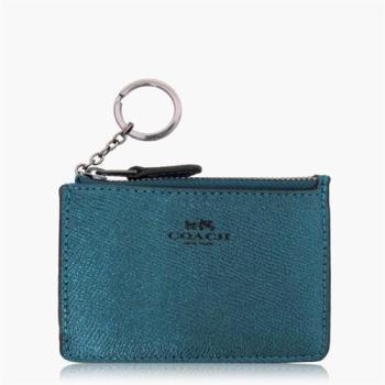 COACH 皮革金屬藍綠色鑰匙圈零錢包