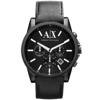A/X Armani Exchange 時尚三眼計時腕錶-黑/44mm AX2098