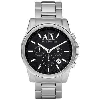 【A│X Armani Exchange】時尚三眼計時腕錶-黑/43mm(AX2084)